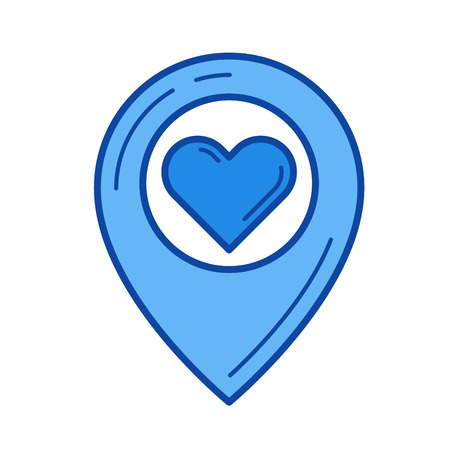 drawing pin: Lovely place vector line icon isolated on white background. Lovely place line icon for infographic, website or app. Blue icon designed on a grid system.