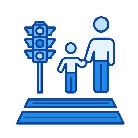 union familiar: Icono de línea de vector de cuidado parental aislado sobre fondo blanco. Icono de línea de cuidado parental para infografía, sitio web o aplicación. Icono azul diseñado en un sistema de cuadrícula.