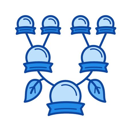 家系図ベクトル線のアイコンが白い背景で隔離。インフォ グラフィック、ウェブサイトまたはアプリ青の家族ツリー ライン アイコン アイコンのグ
