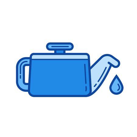 給油者ベクトル線のアイコンが白い背景で隔離。インフォ グラフィック、ウェブサイトまたはアプリ青の給油ライン アイコン アイコンのグリッド