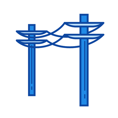Power line vector line icon isolated on white background. Power line icon for infographic, website or app. Blue icon designed on a grid system.