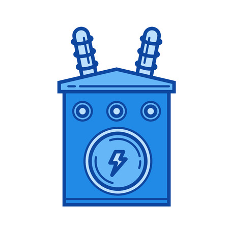 Power industry vector line icon isolated on white background. Power industry line icon for infographic, website or app. Blue icon designed on a grid system. Stock Vector - 84943963