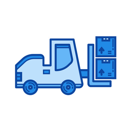 Forklift vector line icon isolated on white background. Forklift line icon for infographic, website or app. Blue icon designed on a grid system. Illusztráció
