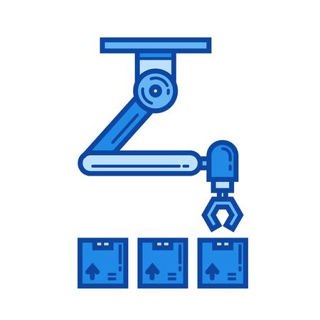 Icône de ligne vecteur robot entrepôt isolé sur fond blanc. Icône de ligne robot entrepôt pour infographie, site Web ou application. Icône bleue conçue sur un système de grille.