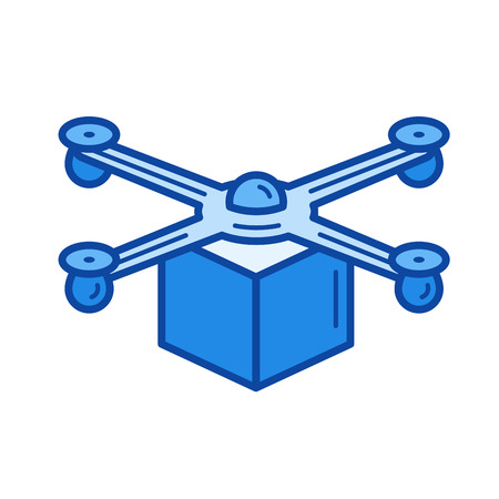 despatch: Drone delivery vector line icon isolated on white background. Drone delivery line icon for infographic, website or app. Blue icon designed on a grid system.
