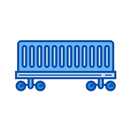 Railroad delivery vector line icon isolated on white background. Railroad delivery line icon for infographic, website or app. Blue icon designed on a grid system.