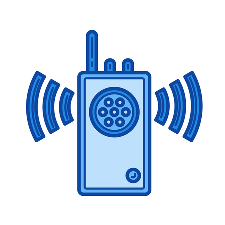 transmit: Walkie talkie vector line icon isolated on white background. Walkie talkie line icon for infographic, website or app. Blue icon designed on a grid system.
