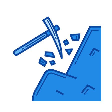 Coal mining vector line icon Illustration