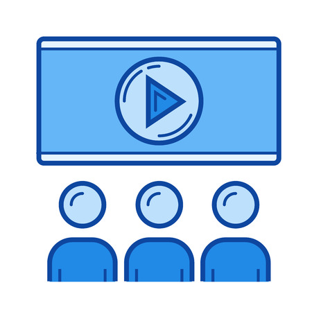 Movie time vector line icon isolated on white background. Movie time line icon for infographic, website or app. Blue icon designed on a grid system. Illustration