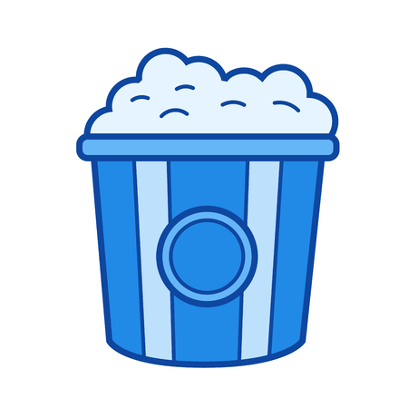Popcorn vector line icon isolated on white background. Popcorn line icon for infographic, website or app. Blue icon designed on a grid system. Çizim