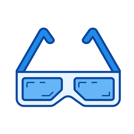 Three d cinema glasses vector line icon isolated on white background. Three d cinema glasses line icon for infographic, website or app. Blue icon designed on a grid system. Illustration