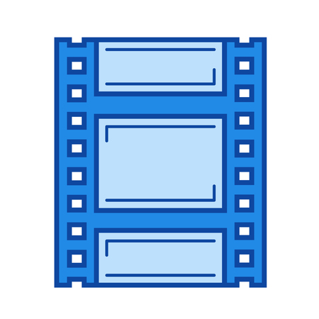 Celluloid vector line icon isolated on white background. Celluloid line icon for infographic, website or app. Blue icon designed on a grid system. Illustration