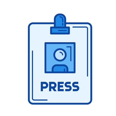 Press badge vector line icon isolated on white background. Press badge line icon for infographic, website or app. Blue icon designed on a grid system.