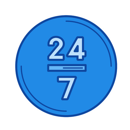 24 hours vector line icon isolated on white background. 24 hours line icon for infographic, website or app. Blue icon designed on a grid system.