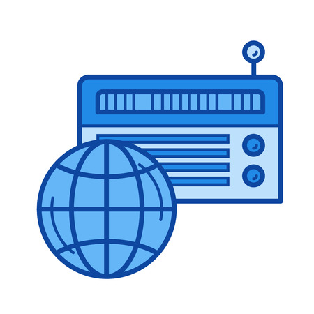 world receiver: Radio vector line icon isolated on white background. Radio line icon for infographic, website or app. Blue icon designed on a grid system.