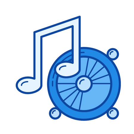 Listening to music vector line icon isolated on white background. Listening to music line icon for infographic, website or app. Blue icon designed on a grid system. Illustration