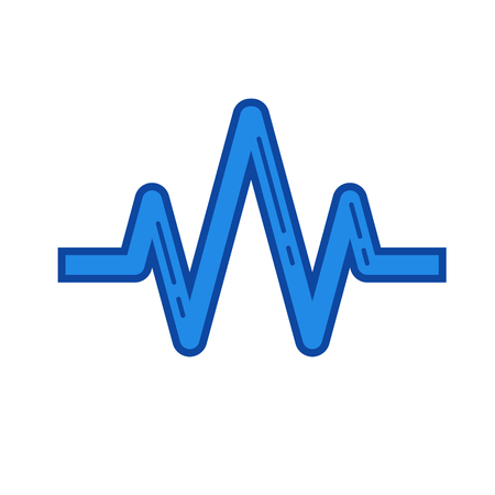 Sound wave vector line icon isolated on white background. Sound wave line icon for infographic, website or app. Blue icon designed on a grid system. Illustration