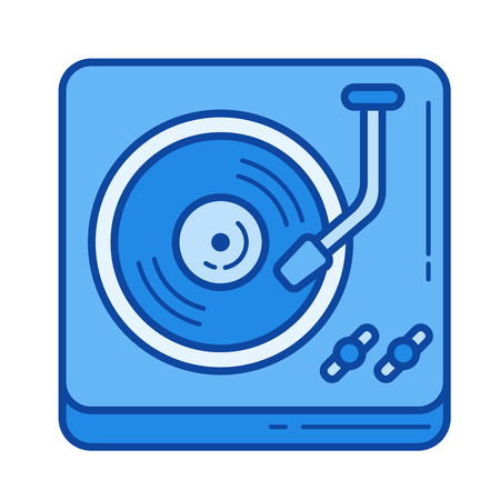 Vintage vinyl player vector line icon isolated on white background. Vintage vinyl player line icon for infographic, website or app. Blue icon designed on a grid system.  イラスト・ベクター素材