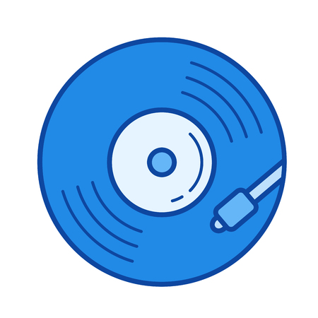 Vinyl turntable vector line icon isolated on white background. Vinyl turntable line icon for infographic, website or app. Blue icon designed on a grid system.