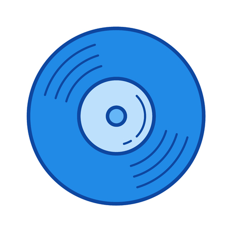 Vinyl disk vector line icon isolated on white background. Vinyl disk line icon for infographic, website or app. Blue icon designed on a grid system.