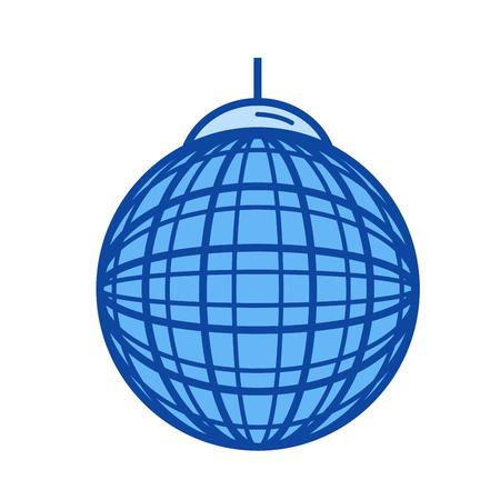 Party Ball Vektor Liniensymbol isoliert auf weißem Hintergrund. Party Ball Linie Symbol für Infografik, Website oder App. Blaues Symbol, das auf einem Rastersystem entworfen ist. Standard-Bild - 84944323