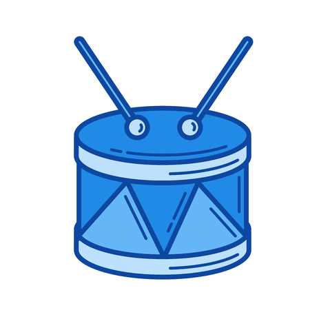 Snare drum vector line icon isolated on white background. Snare drum line icon for infographic, website or app. Blue icon designed on a grid system.