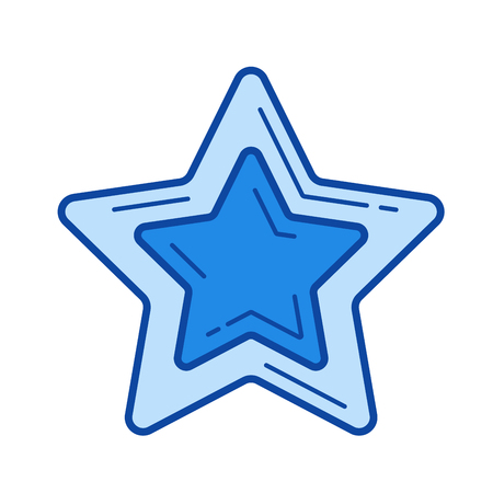 Star favourite vector line icon isolated on white background. Star favourite line icon for infographic, website or app. Blue icon designed on a grid system.