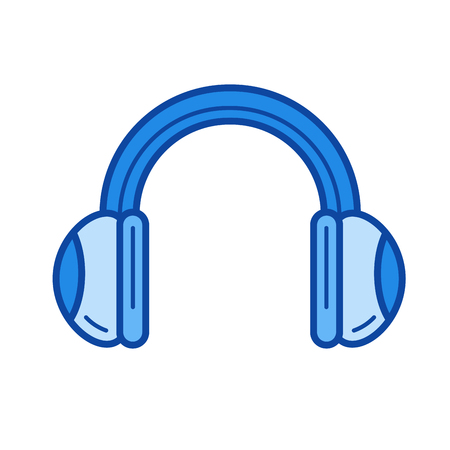 Headphones vector line icon isolated on white background. Headphones line icon for infographic, website or app. Blue icon designed on a grid system.
