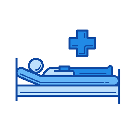 Hospital bed vector line icon isolated on white background. Hospital bed line icon for infographic, website or app. Blue icon designed on a grid system.