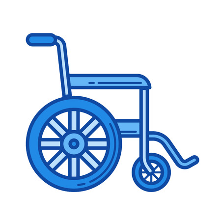 Wheelchair vector line icon isolated on white background. Wheelchair line icon for infographic, website or app. Blue icon designed on a grid system. Illustration