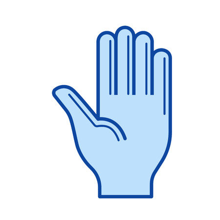 surgical glove: Hand vector line icon isolated on white background. Hand line icon for infographic, website or app. Blue icon designed on a grid system. Illustration