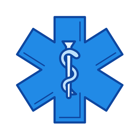 Health care symbol vector line icon isolated on white background. Health care symbol line icon for infographic, website or app. Blue icon designed on a grid system.