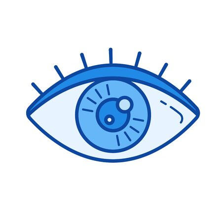 shortsighted: Human eye vector line icon isolated on white background. Human eye line icon for infographic, website or app. Blue icon designed on a grid system.