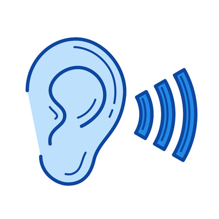 audible: Hearing vector line icon isolated on white background. Hearing line icon for infographic, website or app. Blue icon designed on a grid system. Illustration