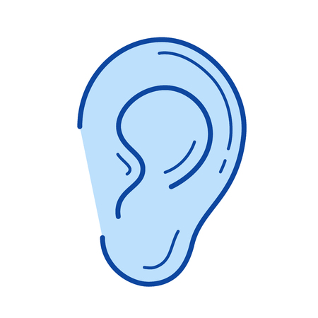 Icono de línea de vector de oído aislado sobre fondo blanco. Icono de la línea del oído para infografía, sitio web o aplicación. Icono azul diseñado en un sistema de cuadrícula.