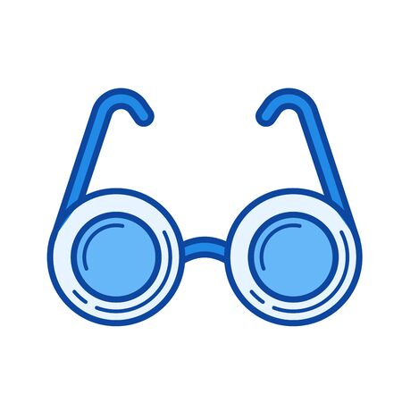 shortsighted: Spectacles vector line icon isolated on white background. Spectacles line icon for infographic, website or app. Blue icon designed on a grid system.