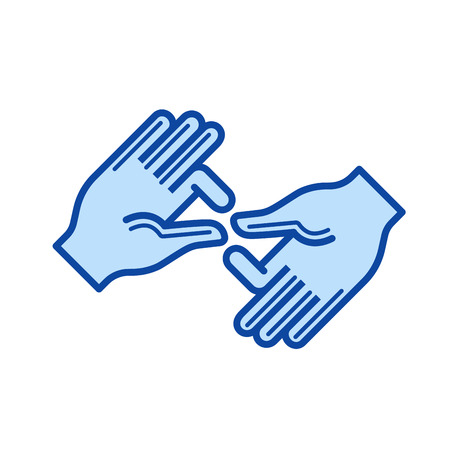 Palm hands vector line icon isolated on white background. Palm hands line icon for infographic, website or app. Blue icon designed on a grid system.