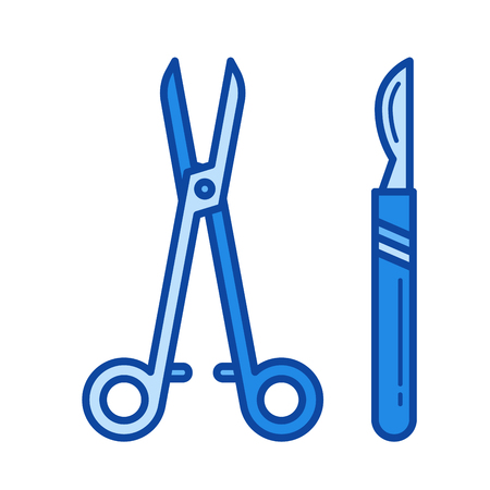Surgical instruments vector line icon isolated on white background. Surgical instruments line icon for infographic, website or app. Blue icon designed on a grid system.