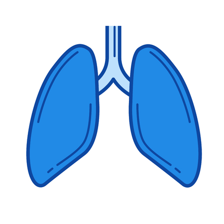 alveolus: Lungs vector line icon isolated on white background. Lungs line icon for infographic, website or app. Blue icon designed on a grid system.