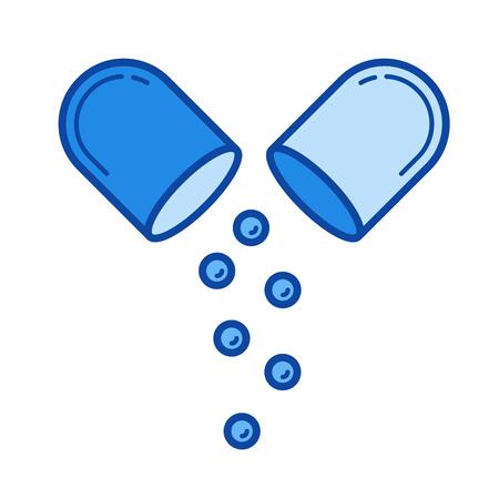 Pills vector line icon isolated Иллюстрация