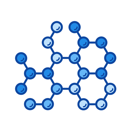 Molecular structure vector line icon