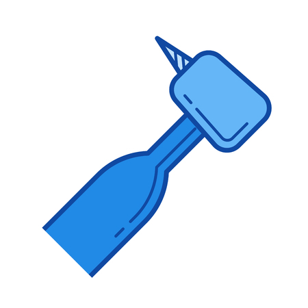 Dental drill vector line icon isolated