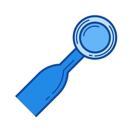 Dental mirror vector line icon isolated