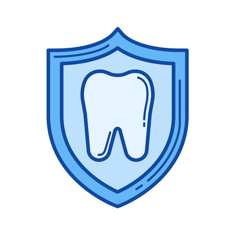 Cavity protection vector line icon isolated on white background. Cavity protection line icon for infographic, website or app. Blue icon designed on a grid system.