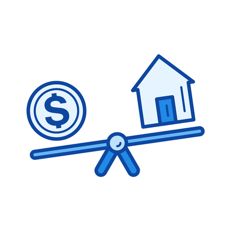 Real estate loan vector line icon isolated on white background. Real estate loan line icon for infographic, website or app. Blue icon designed on a grid system.