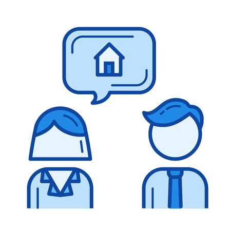 Mortgage broker vector line icon isolated on white background. Mortgage broker line icon for infographic, website or app. Blue icon designed on a grid system.