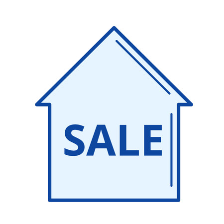 House for sale vector line icon isolated on white background. House for sale line icon for infographic, website or app. Blue icon designed on a grid system. Vetores