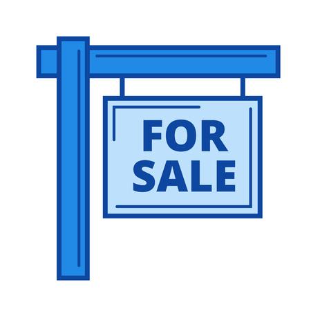 Voor verkoop teken vector lijn pictogram geïsoleerd op een witte achtergrond. Te koop teken lijn pictogram voor infographic, website of app. Blauw pictogram ontworpen op een rastersysteem.