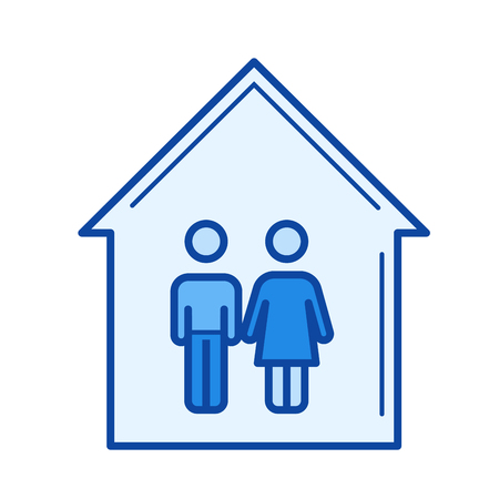 Young couple house vector line icon isolated on white background. Young couple house line icon for infographic, website or app. Blue icon designed on a grid system.