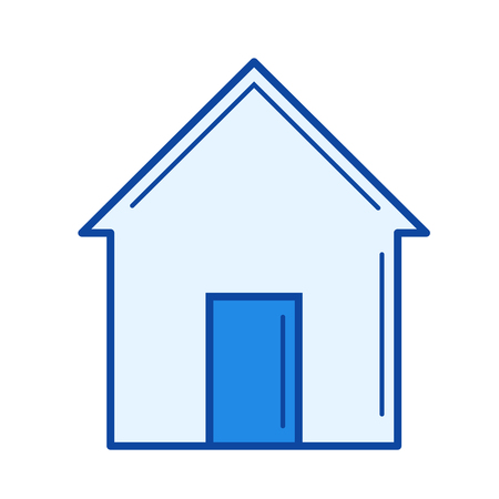 House vector line icon isolated on white background. House line icon for infographic, website or app. Blue icon designed on a grid system.